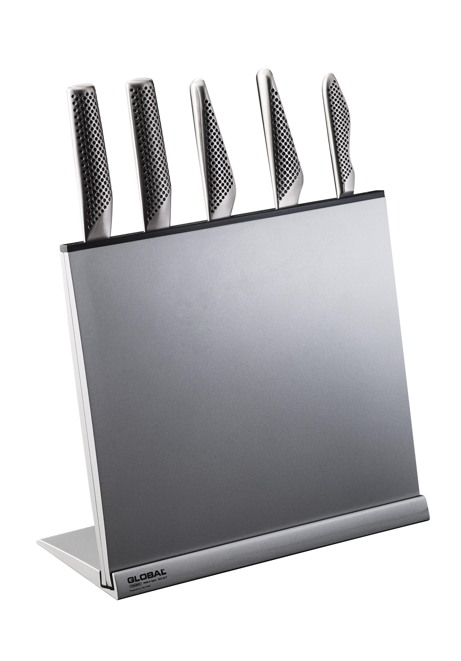 global knives 6 piece knife stand set - kitchenknives.co.uk