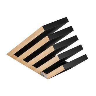 Artelegno Venezia 5-tier Magnetic Beechwood/Natural Black Lacquered Knife Block