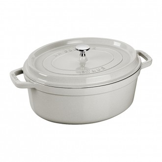 Staub Cast Iron Cocotte Oval 33cm White Truffle (40501-448-0)