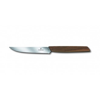 Victorinox Swiss Modern Walnut 12cm Steak Knife 2 Piece Set Serrated Edge (6900012WG)