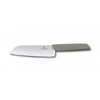 Victorinox Swiss Modern Colour 17cm Fluted Santoku Knife - Olive Green (6905617K6B)