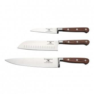 Rockingham Forge Pro Wood Series 3 Piece Set (9cm Paring Knife, 13cm Santoku Knife & 20cm Cooks Knife)
