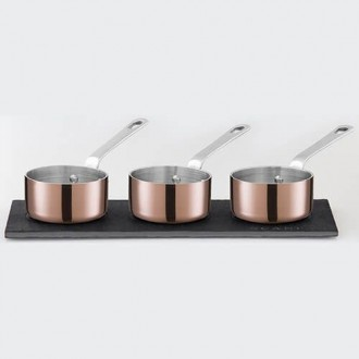 Scanpan Maitre D' Copper Mini Sauce Pot Set with Slate Board