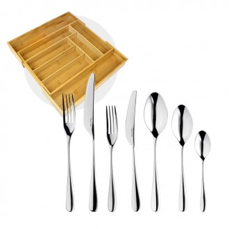 Robert Welch Arden Bright V Cutlery Set 42 Piece with Free Large Cutlery Tray