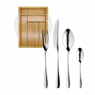 Robert Welch Arden Bright V Cutlery Set 24 Piece with Free Small Cutlery Tray