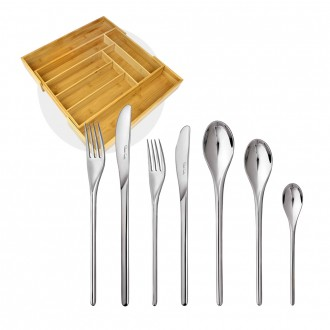 Robert Welch Bud Bright V 56 Piece Set with Free Large Cutlery Tray