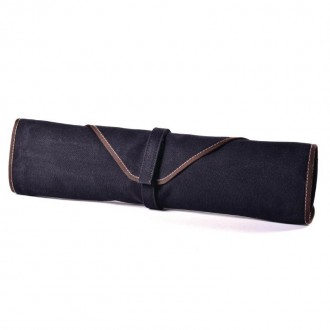 Boldric Canvas Knife Bag Black 6 Slots