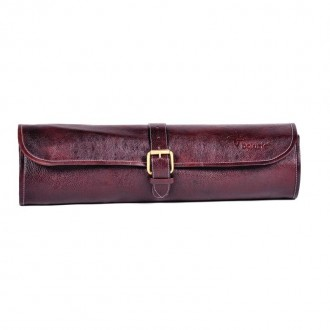 Boldric One Buckle Leather Knife Bag Brown 8 Slots