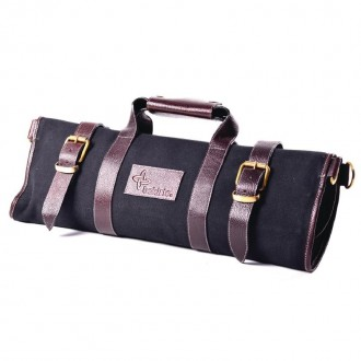 Boldric Canvas Knife Bag Black 17 Slots
