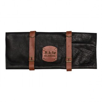 Global Knives Deluxe Leather Knife Roll with 5 Knife Slots (GL-4547/5)