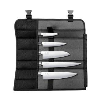 Kai Shun Wasabi Black 5 Piece Set With Knife Bag (Includes KAI 6710P, KAI 6715U, KAI 6716S, KAI 6720C & KAI 6723L)