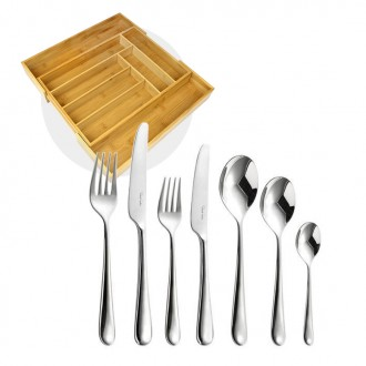 Robert Welch Kingham Bright Cutlery 42 Piece Set with Free Large Cutlery Tray
