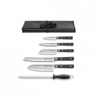 Sabatier® Leonys 6 Piece Knife Set With Roll (Exclusive to KitchenKnives.co.uk)