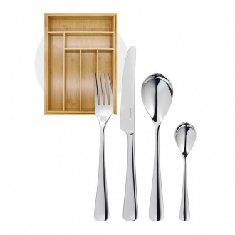 Robert Welch Malvern Bright Cutlery 24 Piece Set with Free Small Cutlery Tray