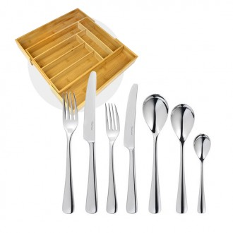 Robert Welch Malvern Bright Cutlery 42 Piece Set with Free Large Cutlery Tray