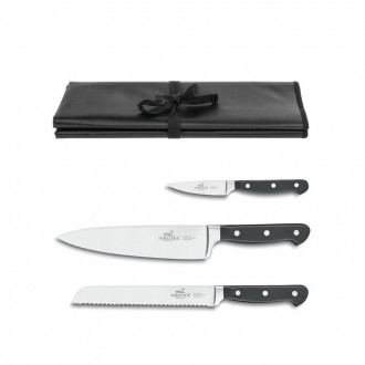 Sabatier® Pluton 3 Piece Knife Set With Roll (Exclusive to KitchenKnives.co.uk)