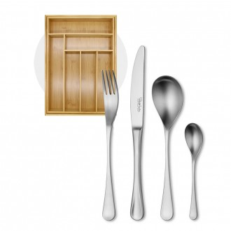 Robert Welch RW2 Satin Cutlery 24 Piece Set with Free Small Cutlery Tray