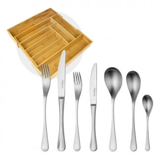 Robert Welch RW2 Satin Cutlery 84 Piece Set with Free Large Cutlery Tray