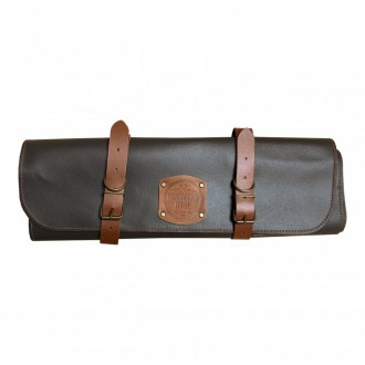 Rockingham Forge Leather Knife Roll in Brown with 10 Knife Slots