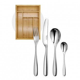Robert Welch Stanton Bright Cutlery 24 Piece Set with Free Small Cutlery Tray
