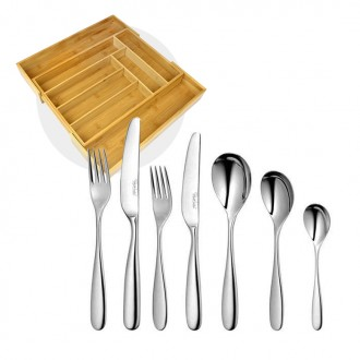 Robert Welch Stanton Bright Cutlery 56 Piece Set with Free Large Cutlery Tray