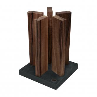 """Kai Shun Kai Magnet Knife Block """"Stonehenge"""" - Walnut/Stainless Steel (KAI-STH-4)"""
