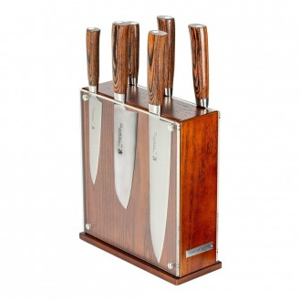 Tamahagane San Tsubame Wood 6 Piece Knife Block Set (SN-116M/SET7)